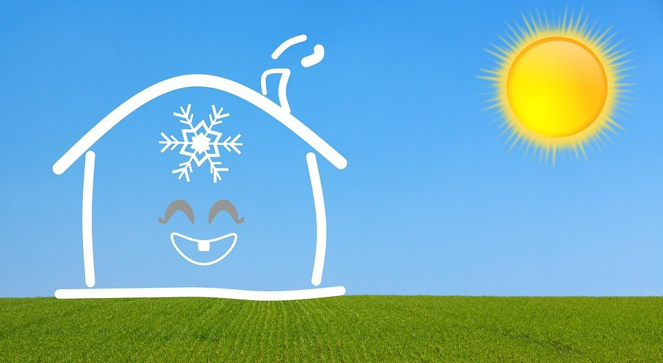 happy house with snowflake inside
